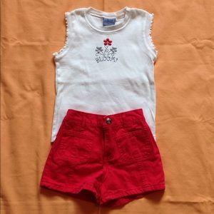 Girls Size 4 Red & White Shirt/Short Set